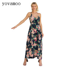Yovamoo 2018 Summer New Fashion Slim Bohemian Floral Print V-neck Spaghetti Strap Long Dress Seaside Beach Dresses Women