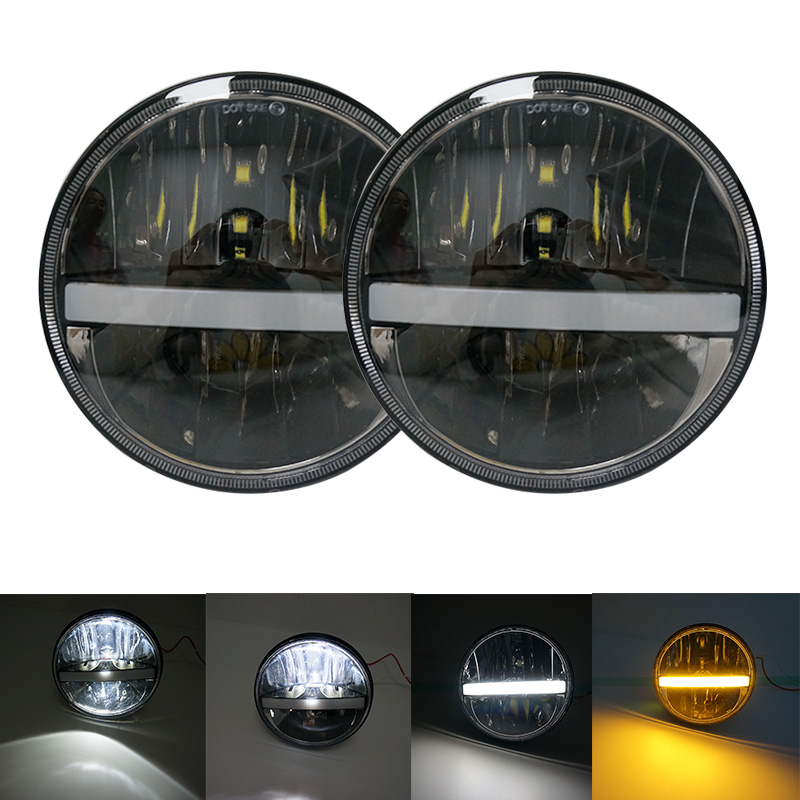 7Inch led car lights 7'' projector daymaker headlight Offroad Accessories with Hi/Lo beam DRL 4X4 LED Headlamp for Jeep Wrangler 7inch 75w motorcycle black hi lo beam projector daymaker led chips headlight for harley