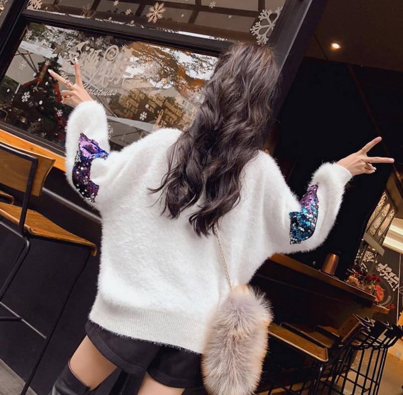 haute Yingyuanfang Chandail Paillettes Solide Knit Rond Noir Col Vison Semi Nouvelle Mode blanc Couleur rtPxqUt