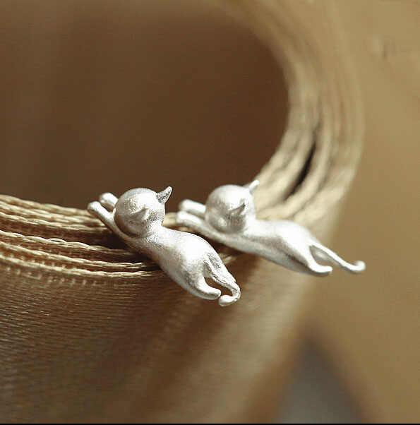 אופנה חדשה 925 סטרלינג כסף קטן חתול Stud עגילים לנשים ילדה מייאו כוכב אנשים עגילי אנימה אוזן קאף Brincos VES6002