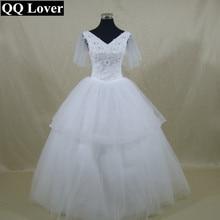 QQ Lover New Flowers Beaded Ball Gown Wedding Dress Bridal Gown Vestido De Noiva