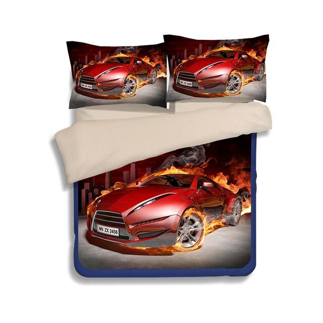 Cool 3d Roten Sportwagen Bettwäsche Set Junge Kinder Frauen Flache