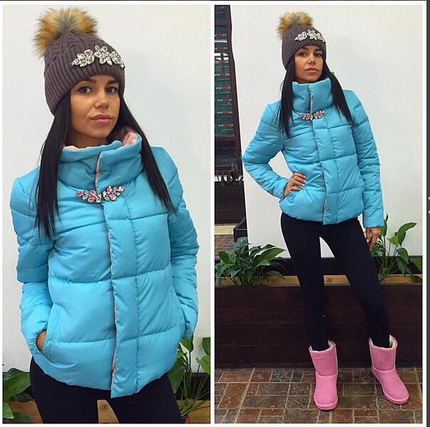 Ucrânia Oferta Especial Sólida Sem Zíper Fino Grosso Vendas 2016 Inverno Nova Moda Casaco Quente Strass Algodão Acolchoado Personalidade