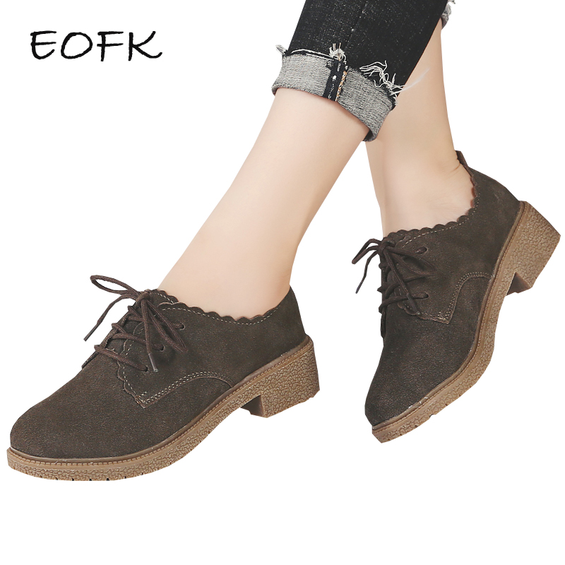 EOFK Women Suede Leather Shoes Women's Flat Shoes Woman Casual Flats New Autumn comfortable Lace Up Flat Shoes Female Shoes цена 2017