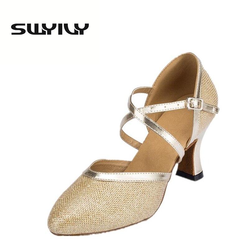 Mesh Bernapas Wanita Sepatu 7 CM Tinggi Tumit Sepatu Dansa Ballroom Tari  Latin Keras Memakai Menunjuk Sepatu Pesta Toe 2ec7e3f69b