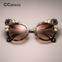 94113ef37fd CCSPACE Ladies Oversized Cat Eye Sunglasses For Women Big Rhinestones Brand  Designer Glasses Fashion Eyewear UV
