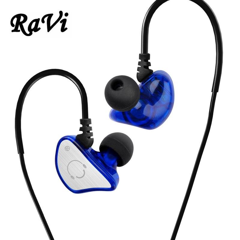 RAVI Sports Running Headphones In Ear Monitor Earphone Stereo Earbuds Hifi Headset Headphones With Mic fone de ouvido For Phone