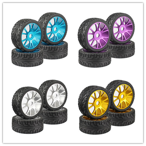4PCS RC 1 8 1 8 On Road Car Buggy Rubber rubber Tyre Tires Metal aluminum