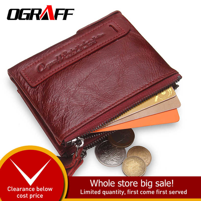OGRAFF Women Wallet Female Genuine Leather Purse Credit Card Holder Dollar Wallet Men Small Women Wallet Coin Purse Lady Wallet