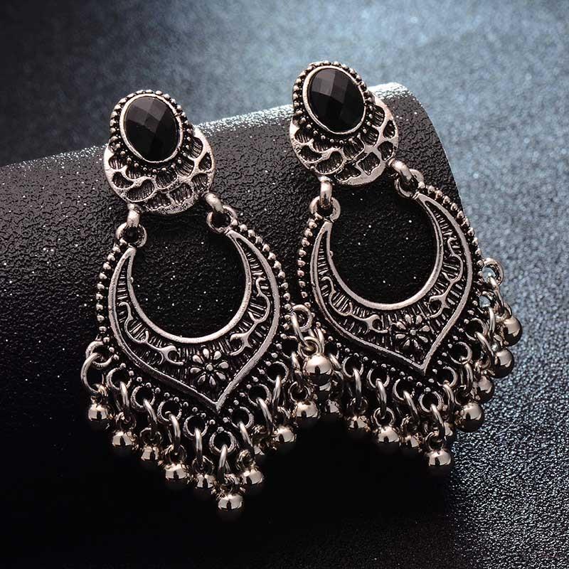 SHUANGR mode chaude couleur or métal gland boucles d'oreilles surdimensionnées Pendientes longues boucles d'oreilles pour femmes ethnique indien bijoux