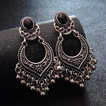 SHUANGR Fashion Hot Gold-color Metal Tassel Dangle Earrings Oversize Pendientes Long Earrings For Women Ethnic Indian Jewelry