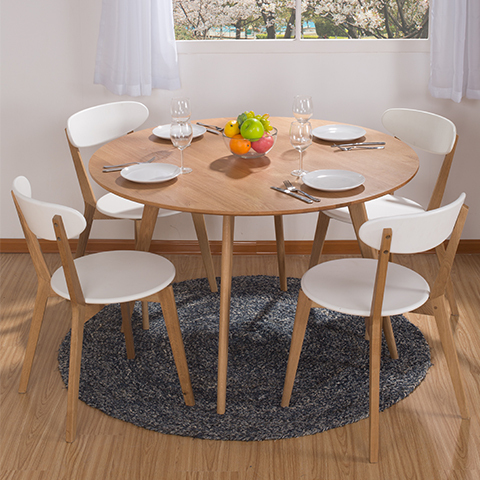 Nordic Small Apartment Modern Minimalist Dining Table Dining Table Round  White Oak Solid Wood IKEA Dining