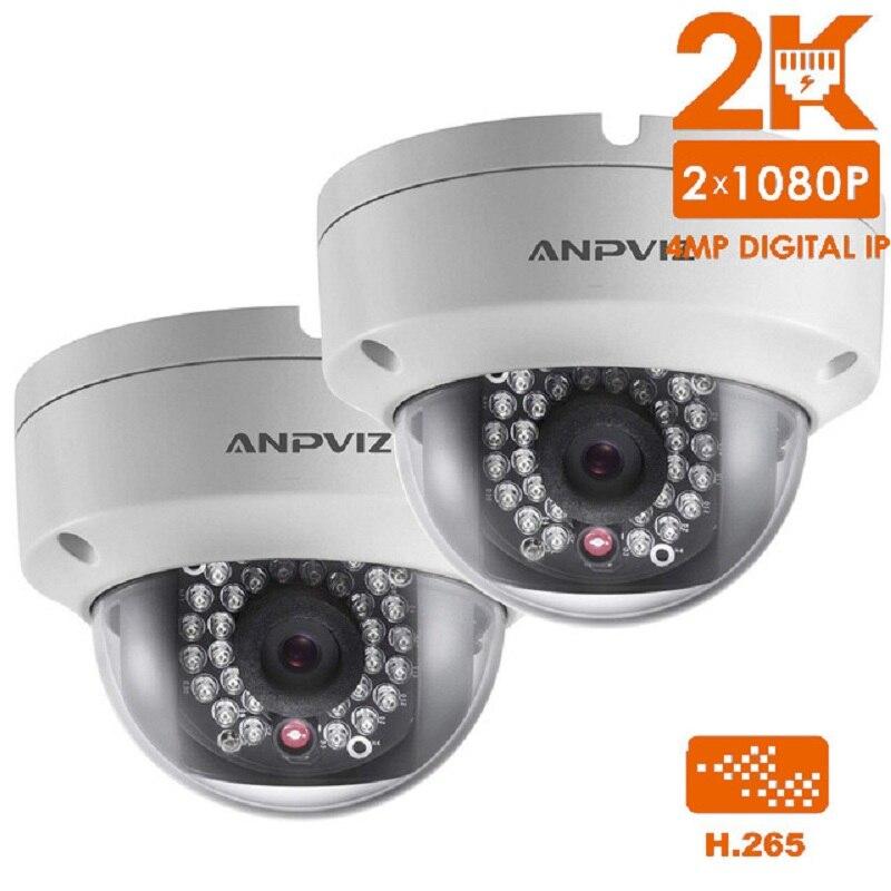 2 pcs 4.0MP POE IP Caméra Haute Qualité mini dôme caméra CCTV Cam P2P WDR Sécurité Extérieure Webcam H.265