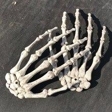 1 쌍 할로윈 장식 현실적인 생활 크기 해골 손 플라스틱 가짜 인간의 손 뼈 좀비 파티 테러 무서운 소품
