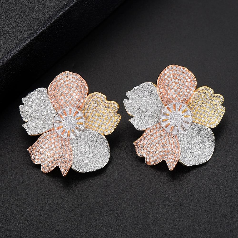 SISCATHY 2019 nouveau à la mode AAA cubique zircone boucles d'oreilles femmes fleur trois tons mixte mariage déclaration boucles d'oreilles bijoux