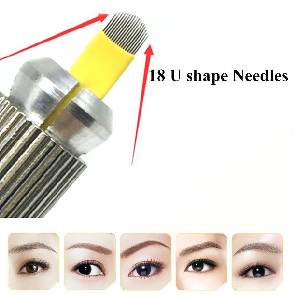 50PCS U Shape 18 Pins Microblading Needle Eyebrow Tattoo Blades For Permanent Makeup Manual Pen 3D Eyebrow Embroidery 18 Needles