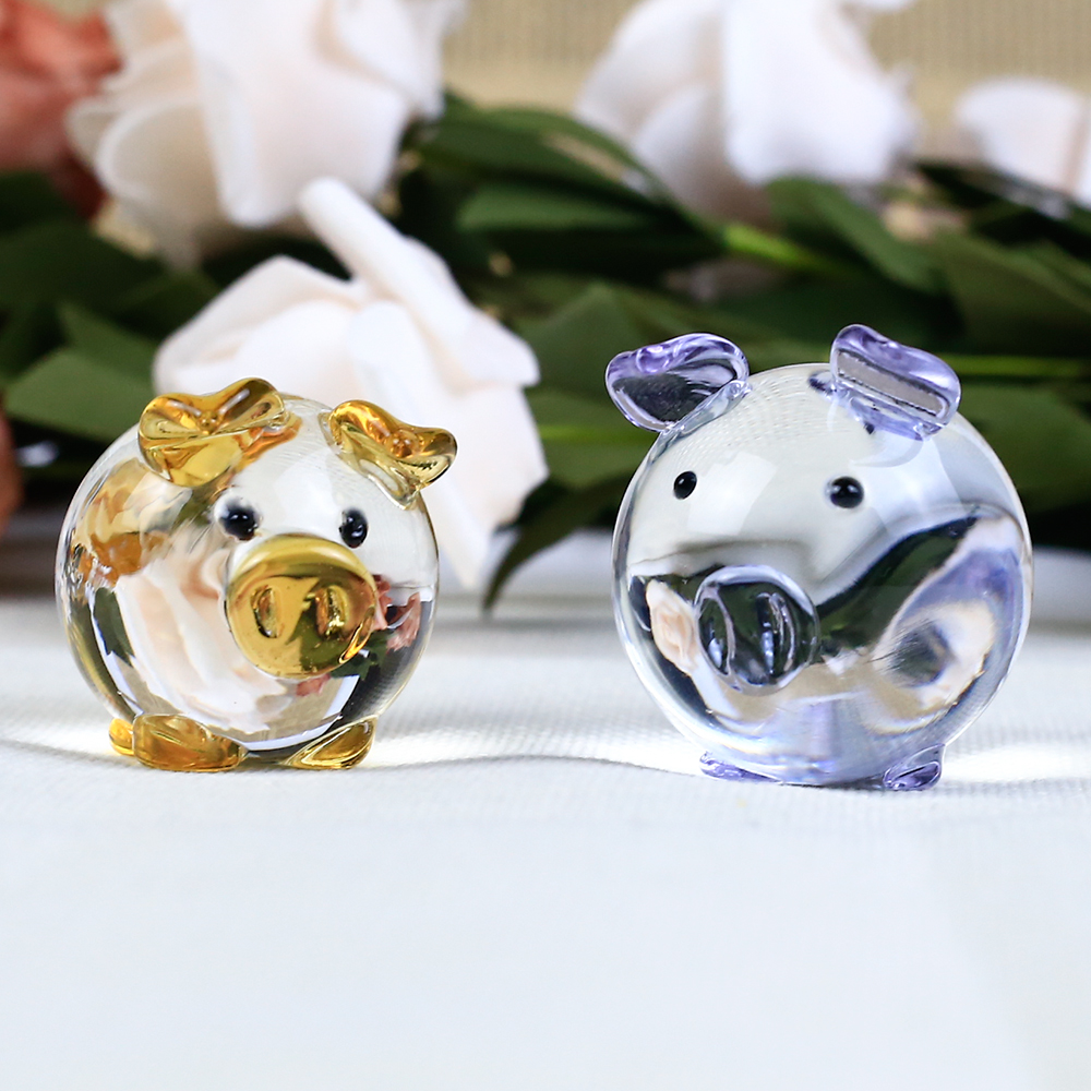1ピースかわいい豚クリスタル置物ミニチュア手作りガラス動物ペット工芸家の装飾キッズギフト