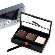 Women New Professional Kit 3 Color Eyebrow Powder Shadow Palette Enhancer with Ended Brushes xgrj