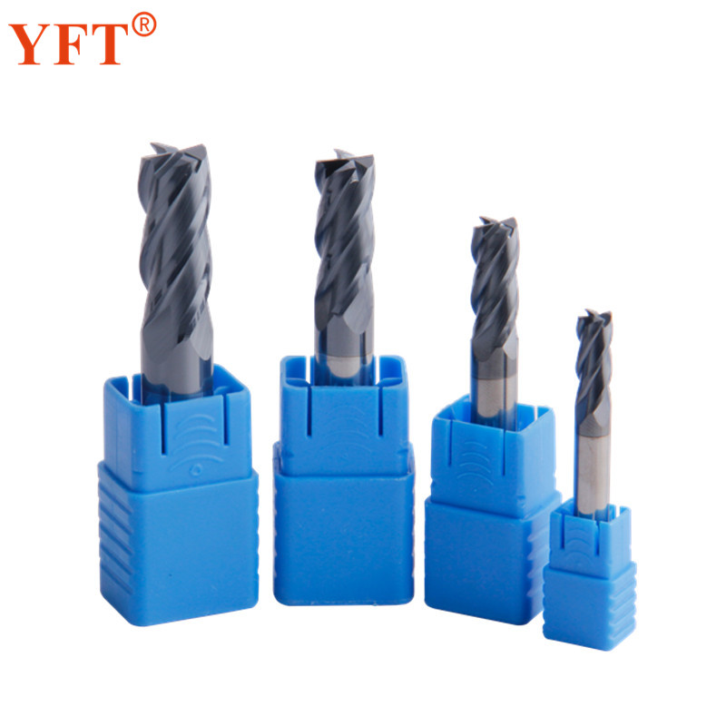 YFT 4Pcs Tungsten Carbide End Mill Diameter 6/8/10/12mm Router Bit 4 Blade Tungsten Steel Milling Cutter 45 HRC CNC Tools slons s300 8 8 60l or 10mm or 12mm hrc55 tungsten solid carbide end mill for cnc milling machine