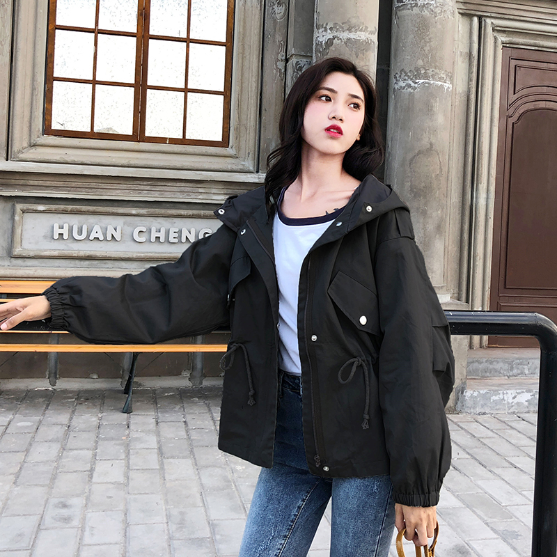 FTLZZ New Loose Trench Coat Spring Autumn Women's Hooded Black Green Windbreaker Outerwear Female Casual Trench Coat 5