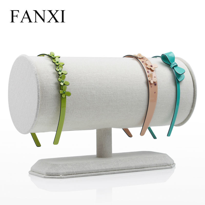FANXI Cream-White Linen T Bar Headband Pendant Jewelry Display Stand Rack for Shop Counter Desktop Jewelry Organizer for women