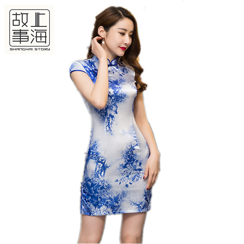 Shanghai Story Faux silk Qipao Dress traditional chinese clothing oriental dresses chinese qipao Cheap women Dress