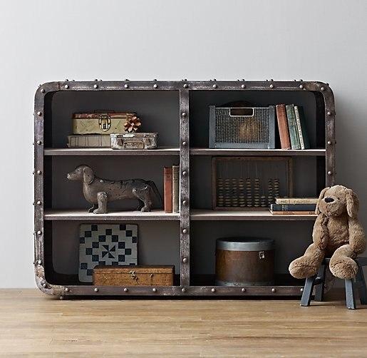 American Vintage Industrial Metal Shelving Storage Rack Iron Craft Bookshelf Hotel TV Cabinet Office Data Frame
