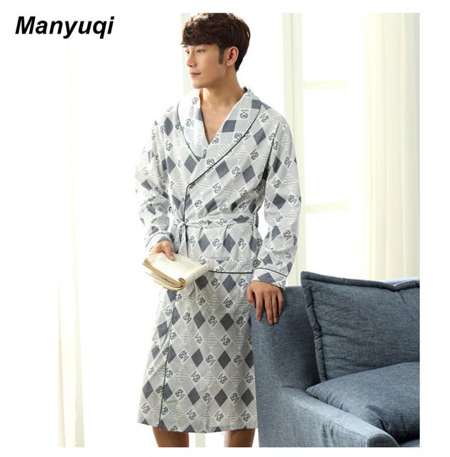 Grade dos homens homewear longo robe roupão estilo simples para o homem casa nightsleep robe tamanho L-3