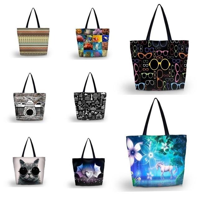 Fashion Soft Foldable Women's Shopping Bag Woman Lady Handbag Print Shoulder Bags Messenger Bag High Quality ECO Shopping Bag