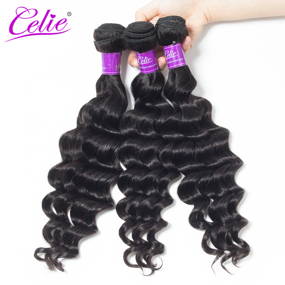 Celie Hair Loose Deep More Wave Human Hair Bundles 3Pcs/Lot Remy Hair Extension Natural Color Brazilian Hair Weave Bundles