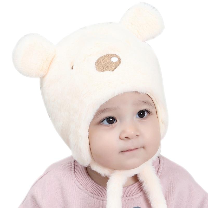 Cute Bear Ears Baby Hat Newborn Winter Beanie For Boys Lace-Up Ear Protect Warm Hat Autumn Soft Comfortable Newborn Girls Hat