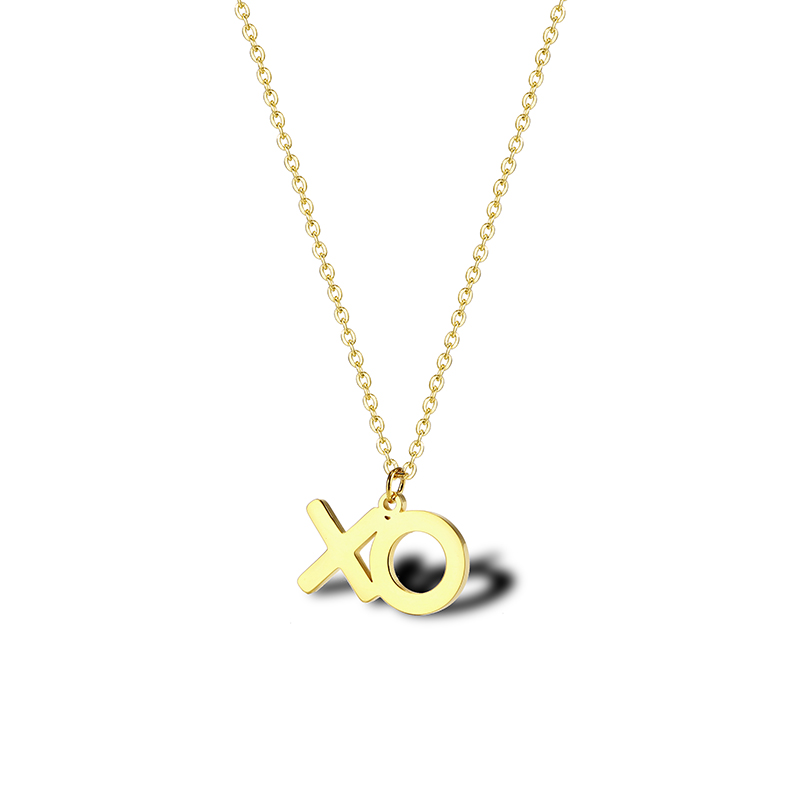 XO Necklace Stainless Steel Gold Alphabet Necklace Tiny Letter Jewelry Hugs And Kisses Gifts For Women