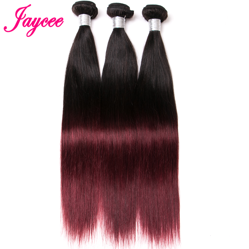 Jaycee Hair Indian Straight Wave T1B/Burgundy Gradient Color Remy Hair 100% Human Hair Weave Bundles Can Be Ironed And Dyed