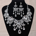 Gorgeous Big Rhinestones Bridal Jewelry Sets Silver Crystal Statement Necklace Earrings Set for Brides Wedding Dress Accessories