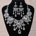 Lindo Grande Strass Noivas Conjuntos de Jóias de Prata Declaração De Cristal Colar Brincos Set para Noivas Acessórios Vestido de Noiva