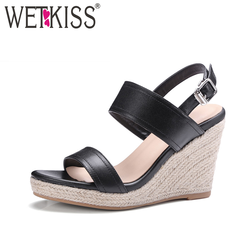 WETKISS 2017 Cow Genuine Leather Women Sandals Hot Straw Weave Wedges Summer Shoes Woman Gladiator Back Strap Open toe Sandals phyanic 2017 gladiator sandals gold silver shoes woman summer platform wedges glitters creepers casual women shoes phy3323