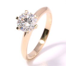 2 Carat ct 8mm F Color Moissanit e Anniversary Engagement Wedding Diamod Ring Solid 585 Yellow Gold Women Brithday Gift