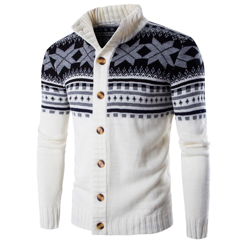 Loldeal Men Sueter Hombre Sweater Men Fashion Autumn Winter Snowflake Thick Warm Knitwear Cardigan  Men  Size 2XL