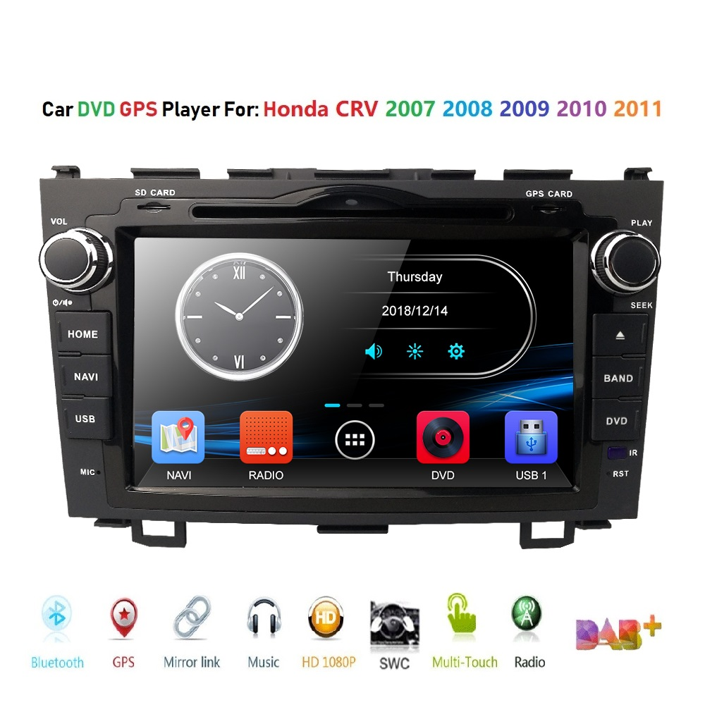 Free shipping Car DVD Player for Honda CRV 2007 2008 2009 2010 2011 car with GPS Radio Audio SD USB host BT FM DAB+ Map RDS DVBT|car dvd player|dvd car player|dvd player for car - title=