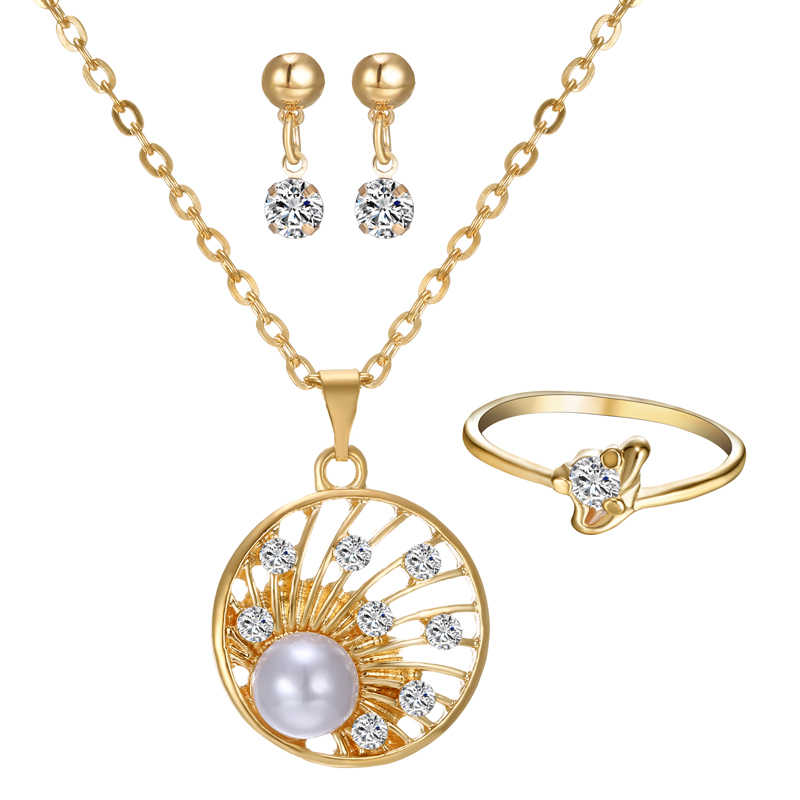 gold Jewelry Set Simulated Pearl Pendant Necklace Earring Ring jewelry Set for women bride wedding jewelry