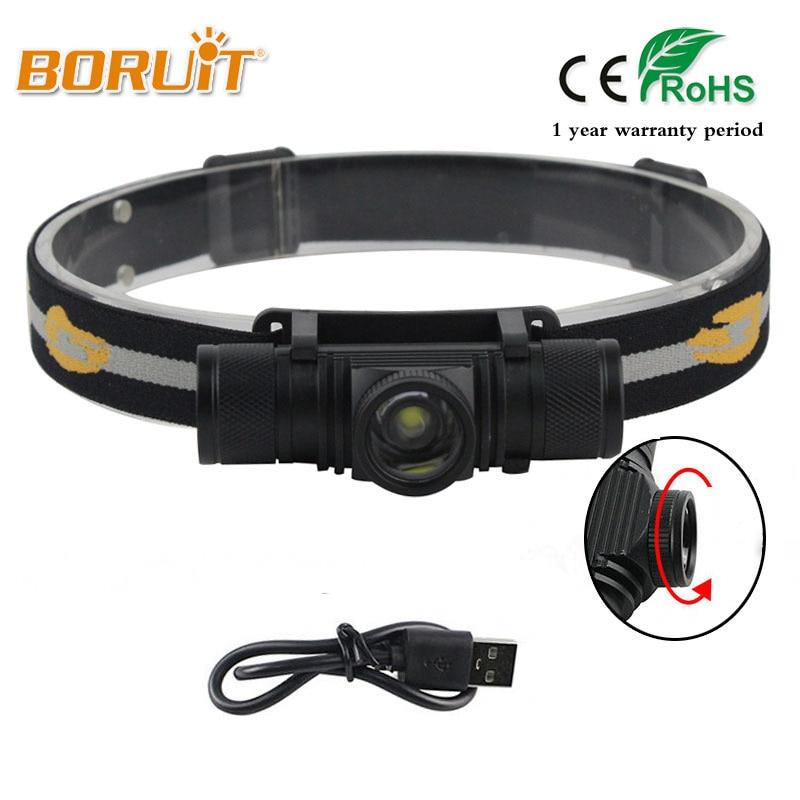 BORUIT Brand 1000LM 10W L2 LED Headlight Mini White Light Zoomable Head Torch Outdoor Sport Headlamp