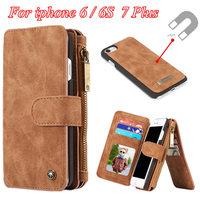 Luxury Original Vintage PU Leather Coque Case For Iphone 6 6S 7 Plus Zipper Wallet Design