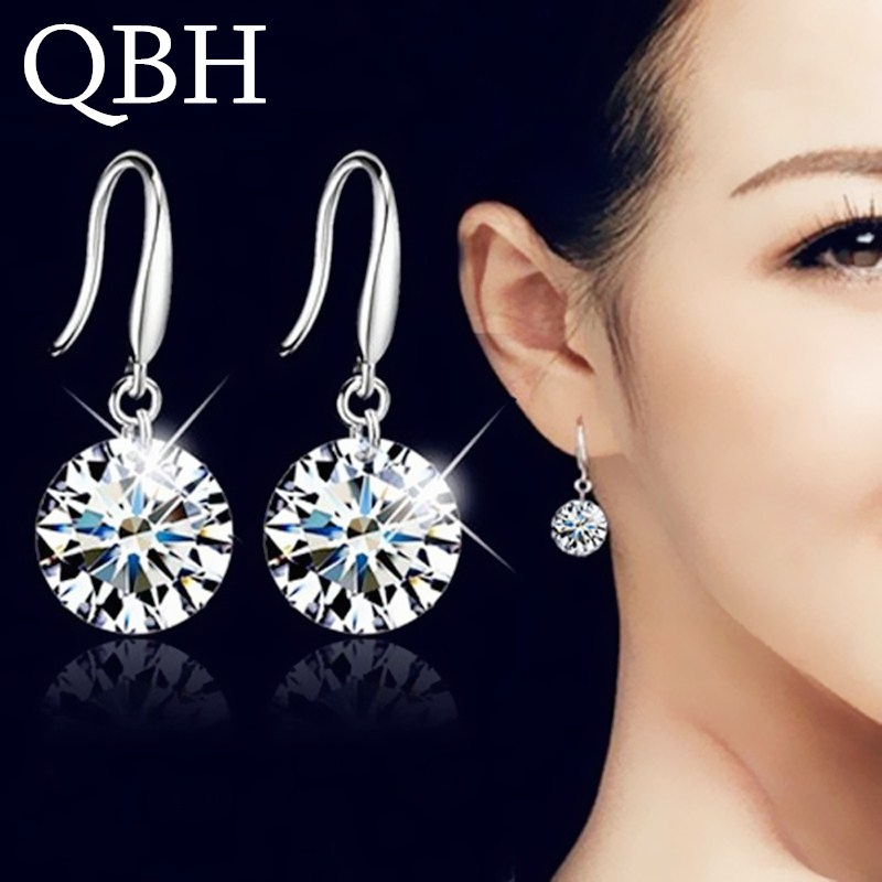 Hot Selling Lady Elegant Fashion Noble Zircon Crystal Dangle Drop Earrings For Women Jewelry Dainty Boucle Mujer Brincos