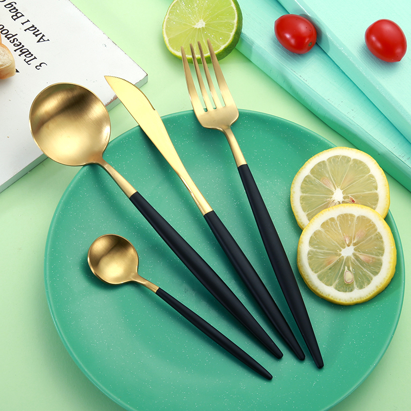 4 pcs set black rose gold flatware set 304 stainless steel western cutlery set tableware. Black Bedroom Furniture Sets. Home Design Ideas