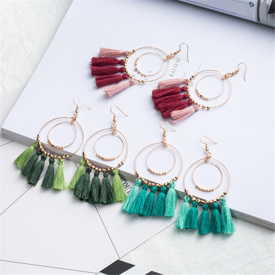 2018 fashion summer boho tassel earrings Bohemian ethnic colorful fringed double circle  ...