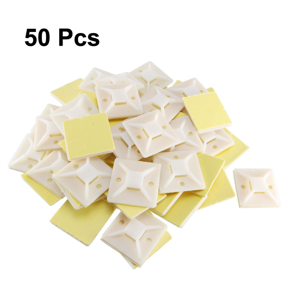 Uxcell Promotion 50pcs Self Adhesive Cable Tie Mounts Wire Base Holder Adjustable 39x39mm Fit Cable 11mm Cable Fixing Base in Cable Clips from Home Improvement