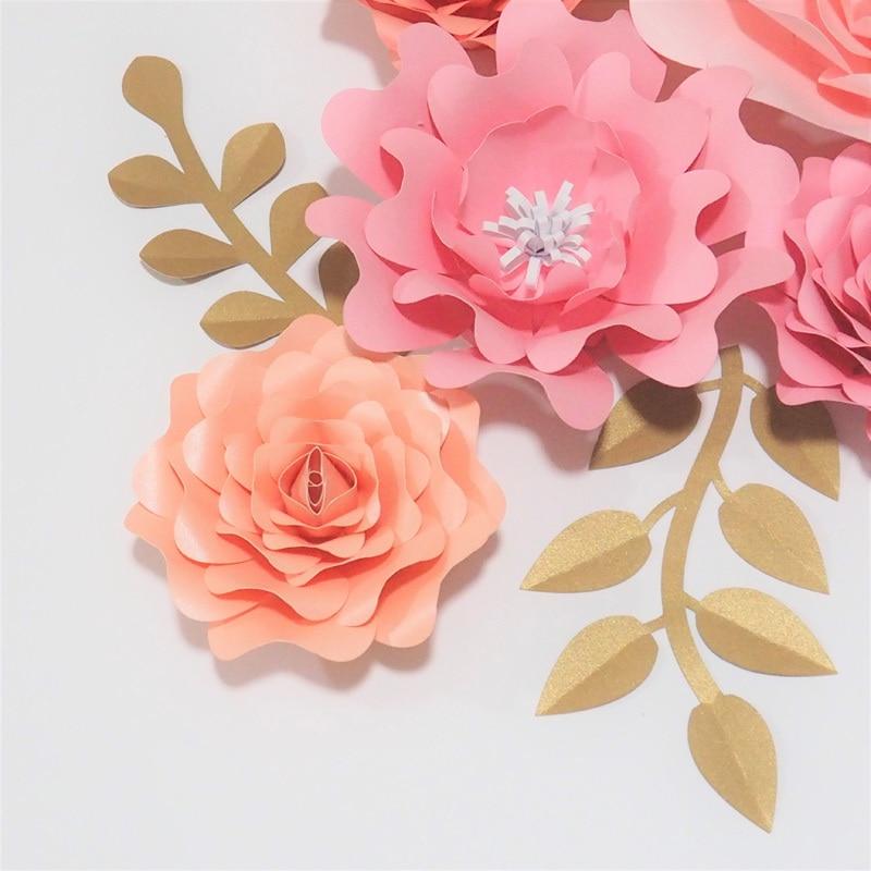 2018 DIY 5pcs Giant Paper Rose 4pcs Leaves Flores Artificiales Fleur Artificielle For Wedding & Event Backdrop Party Nursery