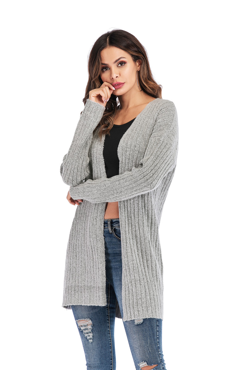 Fall Winter Cute Knitted Middle Long Ribbed Cardigan Dress for Women Kawaii Ladies Knit Drop Shoulder Sweater Coat Oversized S-L 28