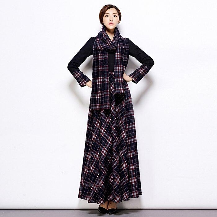 2017 Spring New Women Plaid Wool Dress Casual Maxi Long Dress Plus