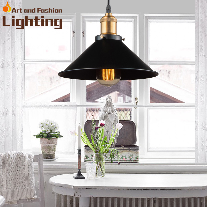 ФОТО Black and White Iron Pendant Light Golden Handle E27 Vintage Edison Bulb Yt1804-220